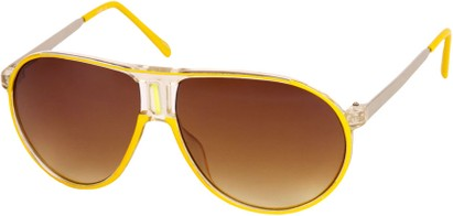 Angle of SW Retro Aviator Style #1338 in Yellow and Clear Frame, Women's and Men's