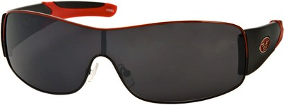 Angle of SW Shield Style #1632 in Black/Red Frame, Women's and Men's