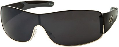 Angle of SW Shield Style #1632 in Black/Grey Frame, Women's and Men's