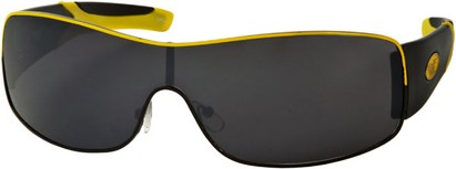 Angle of SW Shield Style #1632 in Black/Yellow Frame, Women's and Men's