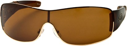Angle of SW Shield Style #1632 in Brown/Gold Frame, Women's and Men's