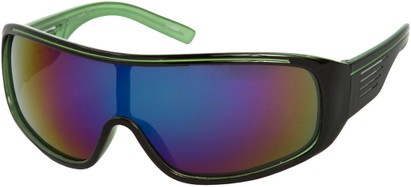 Angle of SW Mirrored Shield Style #4450 in Black/Green Frame with Multi Mirrored Lenses, Women's and Men's