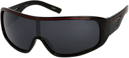 Angle of SW Mirrored Shield Style #4450 in Black/Red Frame with Smoke Mirrored Lenses, Women's and Men's