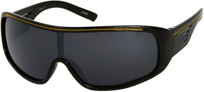 Angle of SW Mirrored Shield Style #4450 in Black/Yellow Frame with Smoke Mirrored Lenses, Women's and Men's