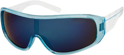 Angle of SW Mirrored Shield Style #4450 in Blue/White Frame with Multi Mirrored Lenses, Women's and Men's