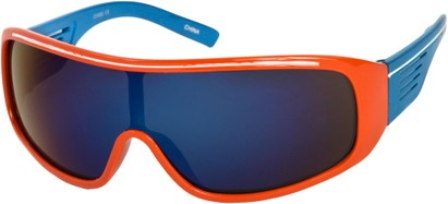 Angle of SW Mirrored Shield Style #4450 in Orange/Blue Frame with Multi Mirrored Lenses, Women's and Men's