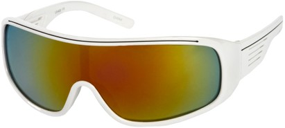 Angle of SW Mirrored Shield Style #4450 in White/Black Frame with Multi Mirrored Lenses, Women's and Men's