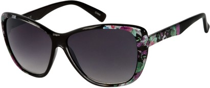 Angle of SW Oversized Floral Style #4360 in Black Frame, Women's and Men's
