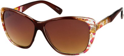 Angle of SW Oversized Floral Style #4360 in Brown Frame, Women's and Men's
