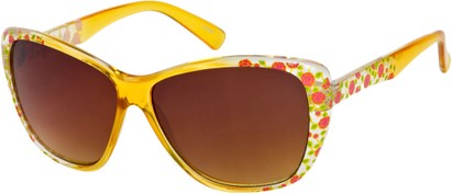 Angle of SW Oversized Floral Style #4360 in Yellow Frame, Women's and Men's