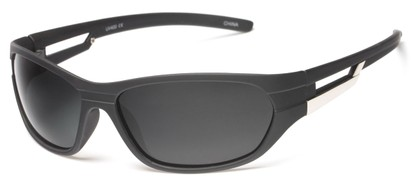 Angle of SW Polarized Sport Style #2118 in Matte Black Frame with Grey Lenses, Women's and Men's