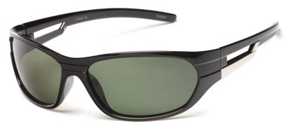 Angle of SW Polarized Sport Style #2118 in Glossy Black Frame with Green Lenses, Women's and Men's