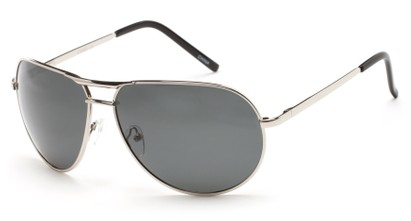 Angle of Camden #2233 in Silver Frame with Smoke Lenses, Men's Aviator Sunglasses