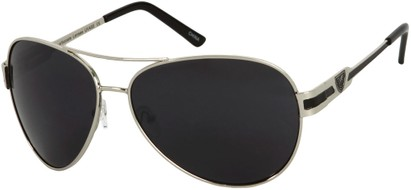 Angle of Playa #6790 in Silver/Black Frame, Women's and Men's Aviator Sunglasses
