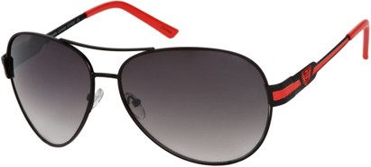 Angle of Playa #6790 in Black/Red Frame, Women's and Men's Aviator Sunglasses