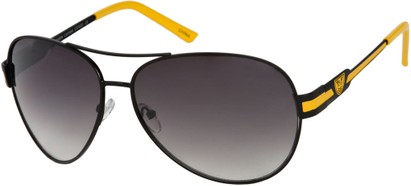 Angle of Playa #6790 in Black/Yellow Frame, Women's and Men's Aviator Sunglasses