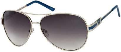Angle of Playa #6790 in Silver/Blue Frame, Women's and Men's Aviator Sunglasses