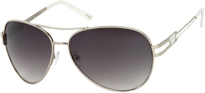 Angle of Playa #6790 in Silver/White Frame, Women's and Men's Aviator Sunglasses