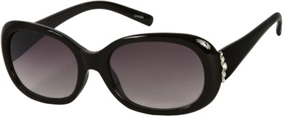 Angle of SW Rhinestone Style #4577 in Black Frame with Purple Lenses, Women's and Men's