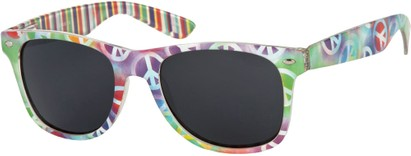 Angle of SW Peace Out Style #6300 in Green Multi Peace Sign/Stripe Frame, Women's and Men's