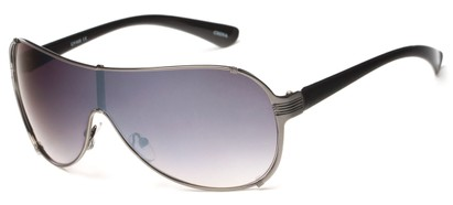 Angle of SW Shield Style #2535 in Grey/Black Frame with Smoke Lenses, Women's and Men's