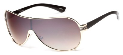 Angle of SW Shield Style #2535 in Gold/Black Frame with Smoke Lenses, Women's and Men's