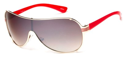 Angle of SW Shield Style #2535 in Gold/Red Frame with Amber Lenses, Women's and Men's