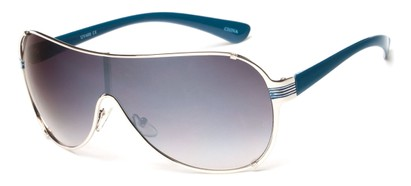 Angle of SW Shield Style #2535 in Silver/Blue Frame with Smoke Lenses, Women's and Men's