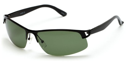 Angle of Transient #1369 in Black Frame with Green Lenses, Men's Sport & Wrap-Around Sunglasses