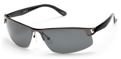 Angle of Transient #1369 in Grey Frame with Smoke Lenses, Men's Sport & Wrap-Around Sunglasses
