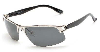 Angle of Transient #1369 in Silver Frame with Smoke Lenses, Men's Sport & Wrap-Around Sunglasses