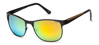Angle of SW Metal Style #1247 in Black Frame with Yellow Mirrored Lenses, Women's and Men's