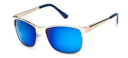 Angle of SW Metal Style #1247 in Silver Frame with Blue Mirrored Lenses, Women's and Men's
