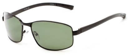 Angle of Limestone #1444 in Black Frame with Green Lenses, Men's Square Sunglasses