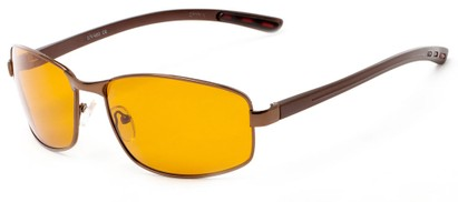 Angle of Limestone #1444 in Bronze Frame with Amber Lenses, Men's Square Sunglasses