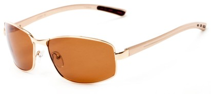 Angle of Limestone #1444 in Gold Frame with Amber Lenses, Men's Square Sunglasses