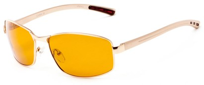 Angle of Limestone #1444 in Gold Frame with Yellow Lenses, Men's Square Sunglasses