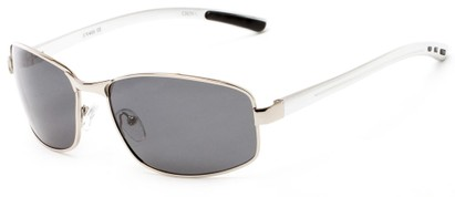 Angle of Limestone #1444 in Silver Frame with Grey Lenses, Men's Square Sunglasses