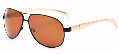 Angle of Hideout #1268 in Black/Gold Frame with Brown Lenses, Men's Aviator Sunglasses
