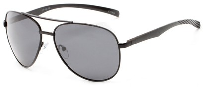 Angle of Spearhead #5050 in Black Frame with Smoke Lenses, Women's and Men's Aviator Sunglasses