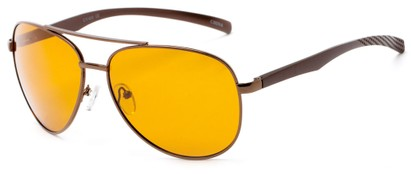 Angle of Spearhead #5050 in Bronze Frame with Yellow Lenses, Women's and Men's Aviator Sunglasses