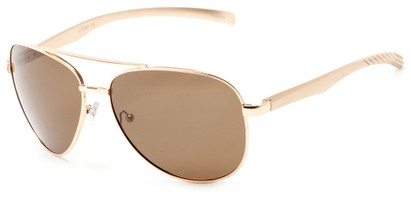 Angle of Spearhead #5050 in Gold Frame with Brown Lenses, Women's and Men's Aviator Sunglasses