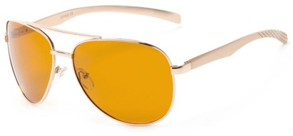 Angle of Spearhead #5050 in Gold Frame with Yellow Lenses, Women's and Men's Aviator Sunglasses