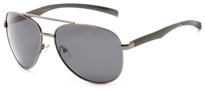 Angle of Spearhead #5050 in Grey Frame with Smoke Lenses, Women's and Men's Aviator Sunglasses