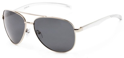 Angle of Spearhead #5050 in Silver Frame with Smoke Lenses, Women's and Men's Aviator Sunglasses