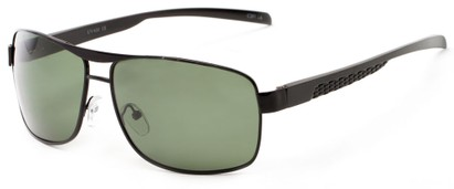 Angle of Argo #1466 in Black Frame with Green Lenses, Men's Aviator Sunglasses