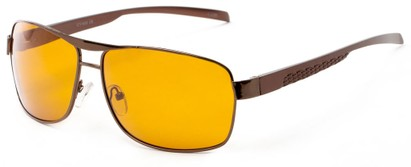 Angle of Argo #1466 in Bronze Frame with Yellow Lenses, Men's Aviator Sunglasses