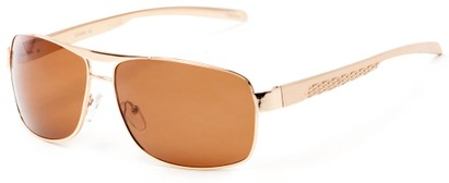 Angle of Argo #1466 in Gold Frame with Amber Lenses, Men's Aviator Sunglasses