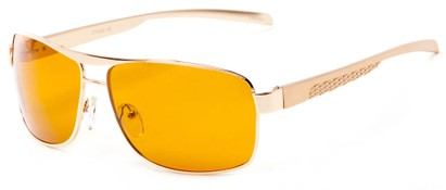 Angle of Argo #1466 in Gold Frame with Yellow Lenses, Men's Aviator Sunglasses
