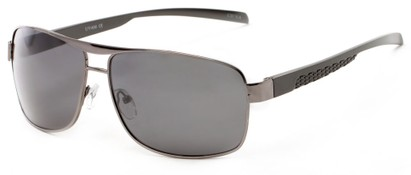 Angle of Argo #1466 in Grey Frame with Grey Lenses, Men's Aviator Sunglasses